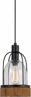 Cal FX-3584-1P Beacon Contemporary Wood/Dark Bronze Mini Pendant Lamp