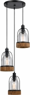 Cal FX-3584-3 Beacon Modern Wood/Dark Bronze Multi Drop Ceiling Light Fixture