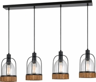 Cal FX-3584-4 Beacon Contemporary Wood/Dark Bronze Multi Drop Lighting Fixture