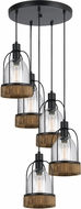 Cal FX-3584-5 Beacon Modern Wood/Dark Bronze Multi Pendant Lighting