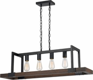 Cal FX-3586-4 Antonio Modern Wood/Dark Bronze Island Light Fixture