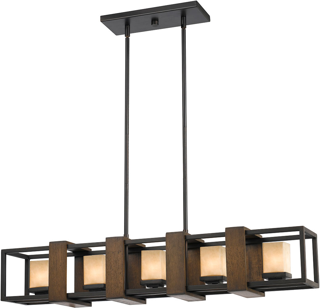 FX 3588 5 Island Modern Wood Dark Bronze Halogen Kitchen Island Light