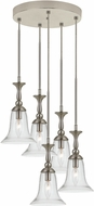 Cal FX-3610-5 Belair Modern Brushed Steel Multi Ceiling Pendant Light