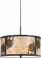 Cal FX-3615-1P Mica Pine Cone Country Dark Bronze Drum Pendant Lamp
