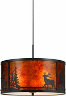 Cal FX-3616-1P Mica Deer Rustic Dark Bronze Drum Hanging Lamp