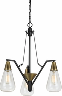 Cal FX-3623-3 Ellyn Contemporary Antique Brass Mini Chandelier Light