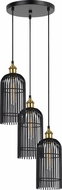 Cal FX-3626-3P Birdcage Contemporary Dark Bronze / Antique Brass Multi Ceiling Pendant Light