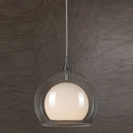 Cal PNL-1049-6 Modern Low Voltage Clear & Frosted White Glass Halogen Mini Pendant Light Fixture