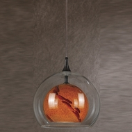 Cal PNL-1050-6 Contemporary Low Voltage Clear & Amber Spot Glass Halogen Mini Pendant Lighting Fixture