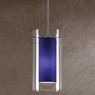 Cal PNL-1052-6 Contemporary Low Voltage Clear & Blue Glass Halogen Mini Pendant Lamp