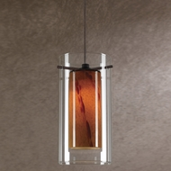 Cal PNL-1053-6 Contemporary Low Voltage Clear & Amber Spot Glass Halogen Mini Hanging Light