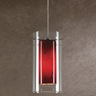 Cal PNL-1054-6 Modern Low Voltage Clear & Red Glass Halogen Mini Hanging Lamp