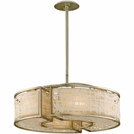 Corbett 131-46-F Kyoto Silver Leaf Finish 26  Wide Drum Pendant Lighting