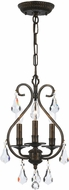 Crystorama 5013-EB-CL-MWP Ashton English Bronze Mini Hanging Chandelier
