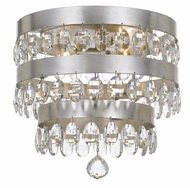 Crystorama 6100-SA Perla Antique Silver Flush Mount Light Fixture