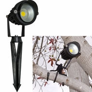 Dabmar LV-LED120-30K Contemporary Black LED Outdoor Cast Aluminum Directional Spotlight with Hood