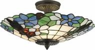 Dale Tiffany 3660-3LTF Pansy Tiffany Antique Brass Ceiling Light