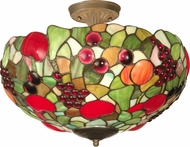 Dale Tiffany 7363-3LTF Fruit Tiffany Antique Brass Ceiling Light Fixture