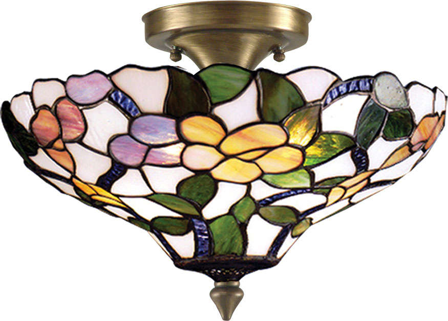 Dale Tiffany 7966 3ltf Peony Tiffany Antique Brass Ceiling