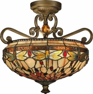 Dale Tiffany TH10099 Briar Dragonfly Tiffany Antique Golden Sand Flush Mount Lighting Fixture
