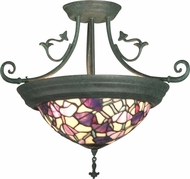 Dale Tiffany TH10965 Pink Floral Tiffany Antique Verde Flush Mount Ceiling Light Fixture