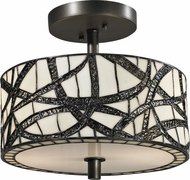 Dale Tiffany TH12413 Willow Cottage Tiffany Dark Bronze Ceiling Light Fixture