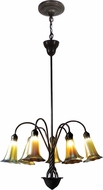 Dale Tiffany TH15075 Gold Lily Contemporary Antique Bronze/Verde Mini Ceiling Chandelier