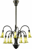 Dale Tiffany TH15128 Gold Lily Modern Antique Bronze/Verde Hanging Chandelier