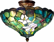 Dale Tiffany TH70098 Savannah Tiffany Antique Brass Overhead Light Fixture