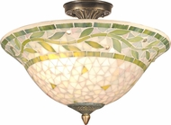 Dale Tiffany TH70655 Cadena Mosaic Tiffany Antique Brass Ceiling Light Fixture