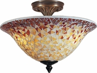 Dale Tiffany TM100552 Cassidy Mosaic Tiffany Antique Brass Flush Lighting