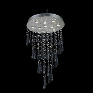 Elegant 2024D24C-GLB-RC Comet Chrome Finish 24  Wide Multi Pendant Lighting Fixture