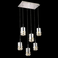 Elegant 2055D6O-RC Broadway Chrome Finish 90  Tall LED Multi Hanging Light Fixture