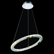 Elegant 2065D24C-RC Atom Chrome Finish 24  Wide LED Hanging Lamp