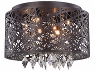 Elegant 2113DF16MDB-RC Finley Matte Dark Brown Halogen 16  Ceiling Light / Hanging Pendant Light