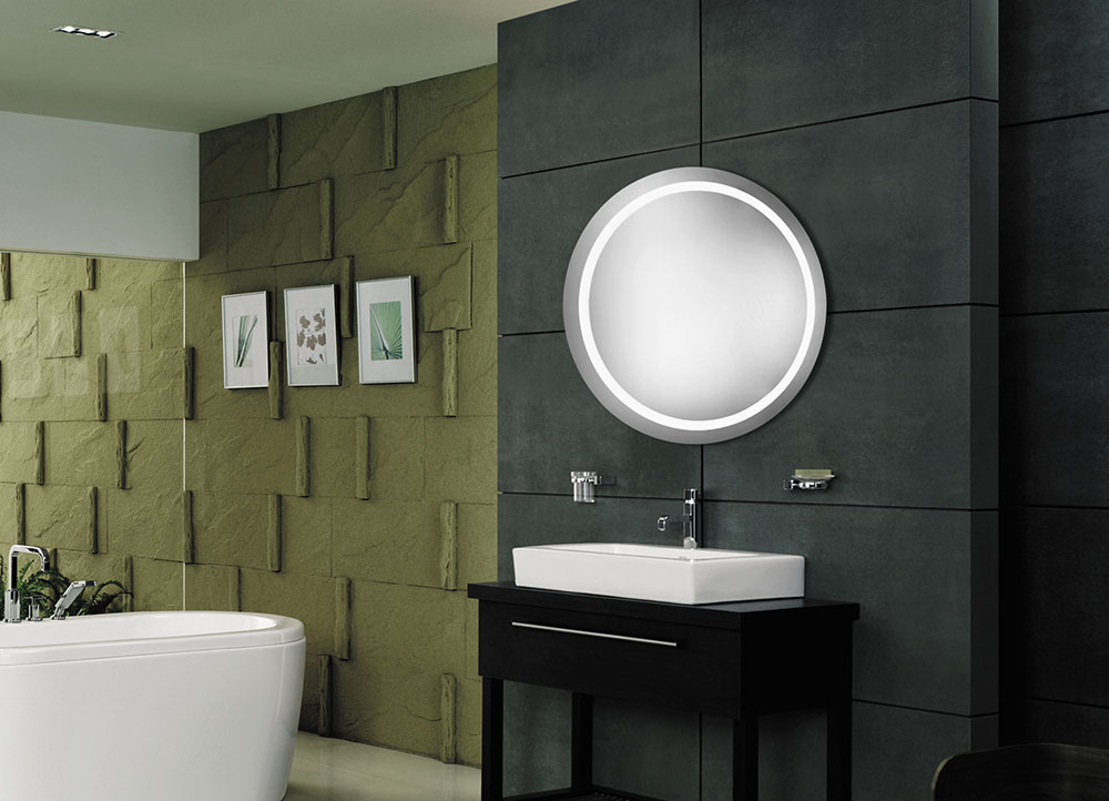 Modern Led Lighted Wall Mounted Vanity Mirror Round Shape: Elegant Lighting MRE-6006 Element Contemporary Glossy