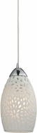 ELK 10245-1 Etched Glass Contemporary Polished Chrome Mini Pendant Light Fixture