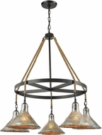 ELK 10436-5CH Hand Formed Glass Oil Rubbed Bronze Chandelier Light