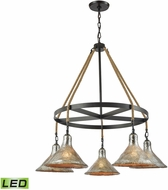 ELK 10436-5CH-LED Hand Formed Glass Oil Rubbed Bronze LED Chandelier Lighting