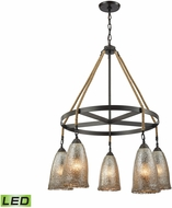 ELK 10438-5CH-LED Hand Formed Glass Oil Rubbed Bronze LED Chandelier Lamp