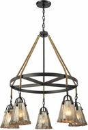 ELK 10631-5CH Hand Formed Glass Oil Rubbed Bronze Chandelier Light