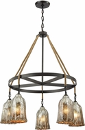 ELK 10641-5CH Hand Formed Glass Oil Rubbed Bronze Hanging Chandelier