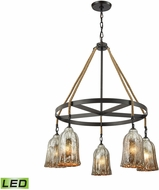 ELK 10641-5CH-LED Hand Formed Glass Oil Rubbed Bronze LED Chandelier Light