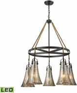 ELK 10651-5CH-LED Hand Formed Glass Oil Rubbed Bronze LED Lighting Chandelier
