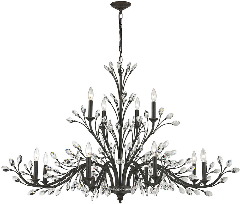 ELK 1177784 Crystal Branches Burnt Bronze Chandelier Lamp ELK – Bronze Chandelier with Crystals