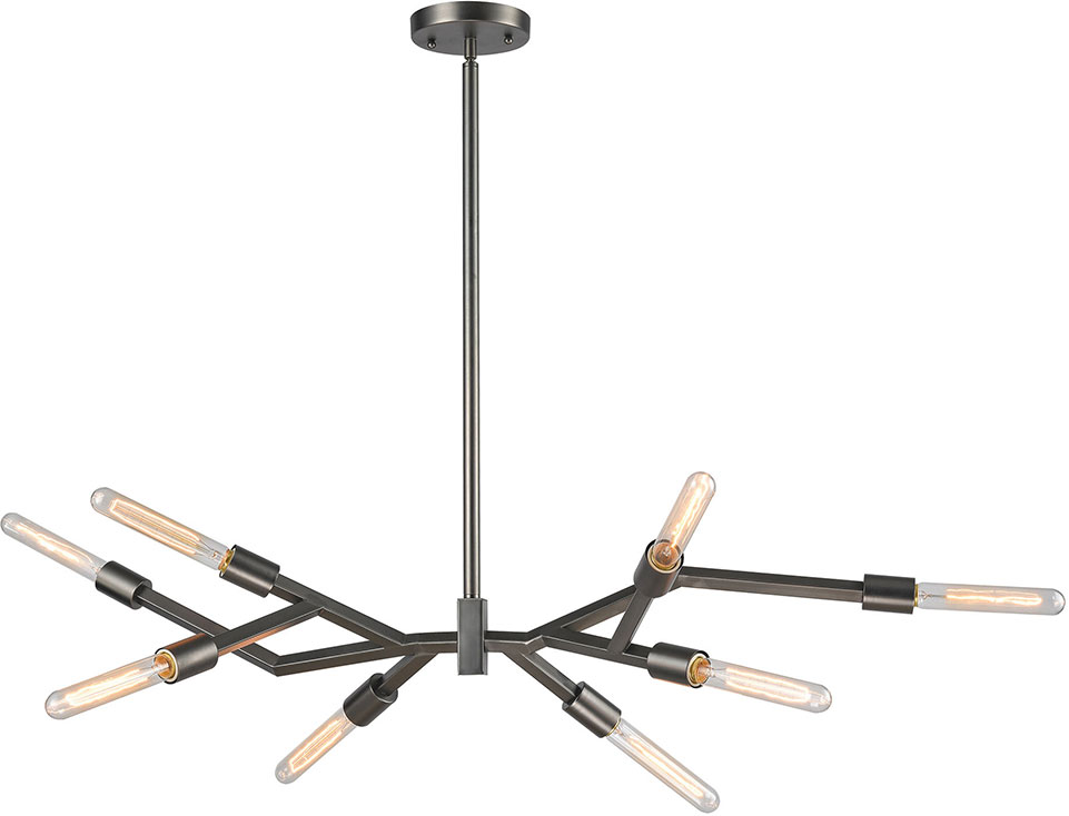 ELK 118578 Freeform Modern Aged Black Nickel Ceiling Chandelier – Modern Black Chandelier