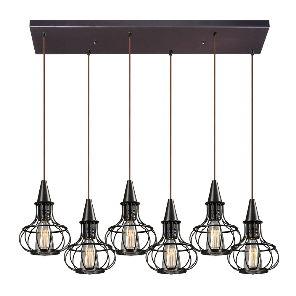 Elk Lighting Yardley: ELK 14191-6RC Yardley Retro Oil Rubbed Bronze Multi