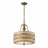 ELK 31386-3 Luxembourg Brushed Antique Brass Drum Pendant Hanging Light