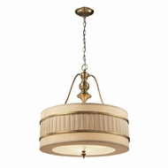 ELK 31387-3 Luxembourg Brushed Antique Brass Drum Hanging Light Fixture