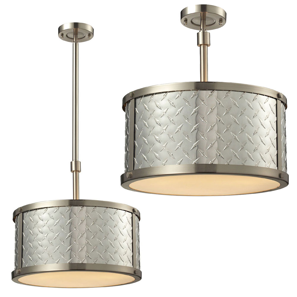 diamond plate brushed nickel flush mount light fixture drop lighting. Black Bedroom Furniture Sets. Home Design Ideas
